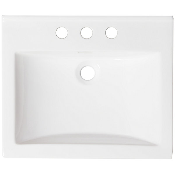American Imaginations 21.5-in. W x 18.5-in. D Ceramic Top In White Color For 4-in. o.c. Faucet