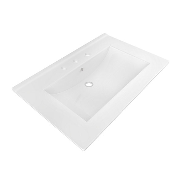 American Imaginations 24-in. W x 18-in. D CeramicTop In White Color For 8-in. o.c. Faucet