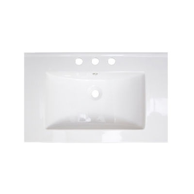 American Imaginations 24-in. W x 18-in. D CeramicTop In White Color For 4-in. o.c. Faucet