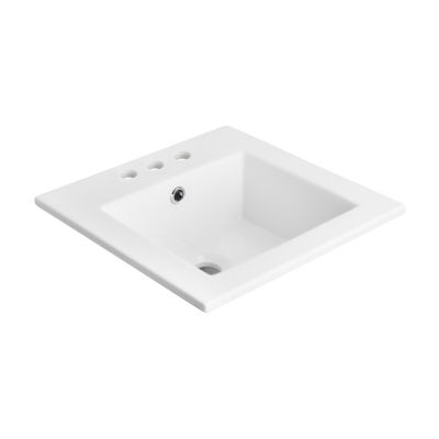 American Imaginations 21-in. W x 18-in. D CeramicTop In White Color For 4-in. o.c. Faucet