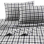 Tribeca Living Micro Plaid Flannel Sheet Set