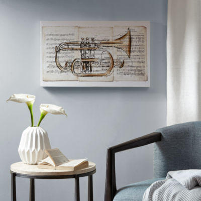 Madison Park Brass Trumpet Paint Embellished Canvas