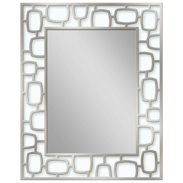 Head West 24.25 x 30.25 Metal Oblong Circle Etched Wall Mirror