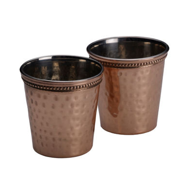 Mikasa Set Of Two Solid Copper Hammered Shot Glasses   20z 2-pc. Shot Glass