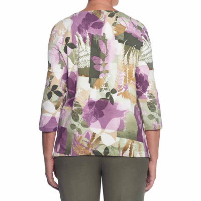 Alfred Dunner Palm Desert 3/4 Sleeve Crew Neck T-Shirt-Womens