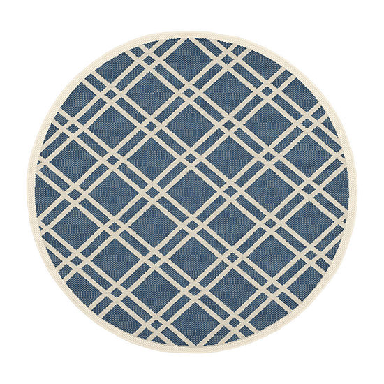 Safavieh Courtyard Collection Hannah Geometric Indoor/Outdoor Round Area Rug