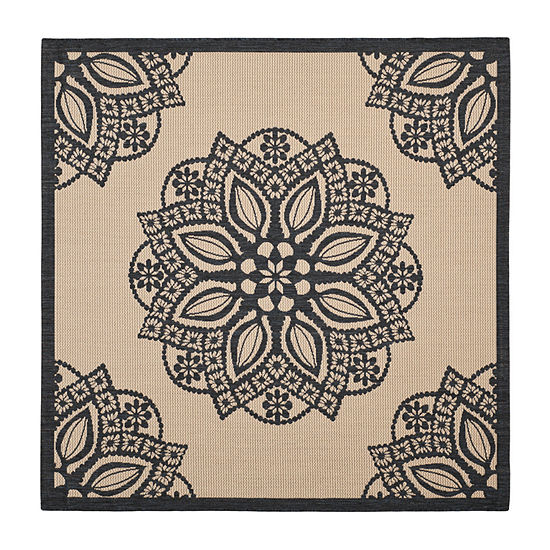 Safavieh Courtyard Collection Kimberly Oriental Indoor/Outdoor Square Area Rug