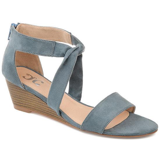 Journee Collection Womens Mattie Zip Open Toe Wedge Heel