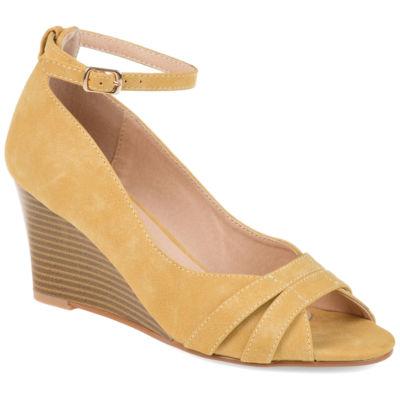 Journee Collection Womens Palmer Pumps Buckle Peep Toe Wedge Heel