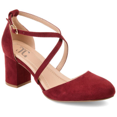 Journee Collection Womens Foster Pumps Buckle Pointed Toe Block Heel
