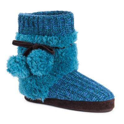 Muk Luks Womens Delanie Faux Fur Trim Bootie Slippers