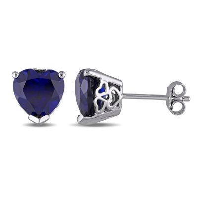 Blue Sapphire Sterling Silver 9mm Heart Stud Earrings