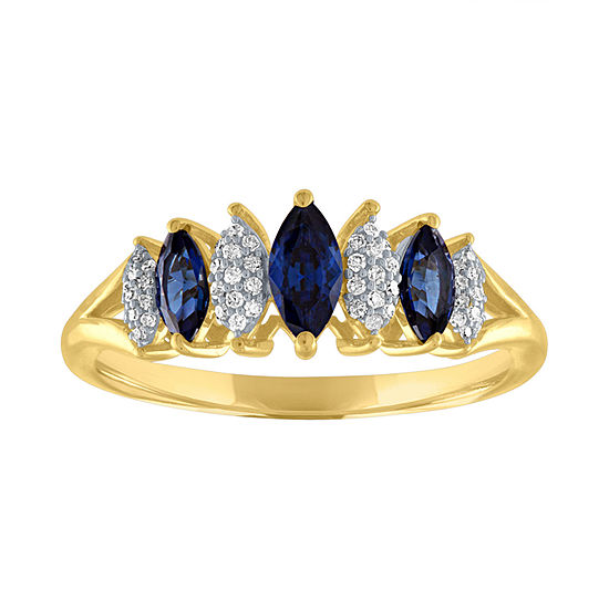 Womens 1 10 Ct Tw Genuine Blue Sapphire 10k Gold Cocktail Ring