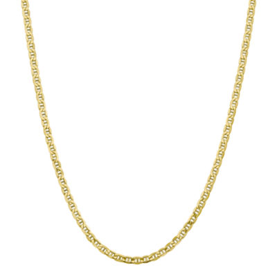 10K Gold 16 Inch Semisolid Anchor Chain Necklace