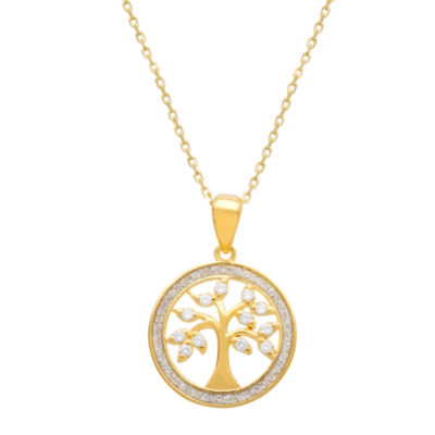 Diamonart Tree Of Life Womens White Cubic Zirconia 14K Gold Over Silver Pendant Necklace