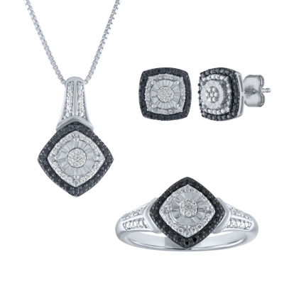 1/2 CT. T.W. Genuine Multi Color Diamond Sterling Silver 3-pc. Jewelry Set