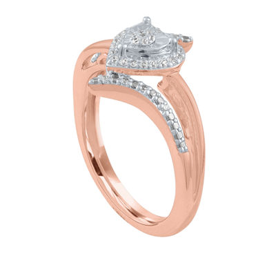 Womens 1/10 CT. T.W. Genuine White Diamond 14K Rose Gold Over Silver Sterling Silver Heart Bypass  Cocktail Ring