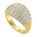 Womens 1/2 CT. T.W. Genuine White Diamond 14K Gold Over Silver Cocktail Ring