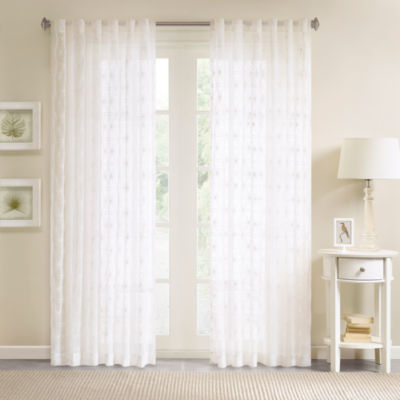 Madison Park Kida Embroidery Sheer Rod-Pocket Single Curtain Panel