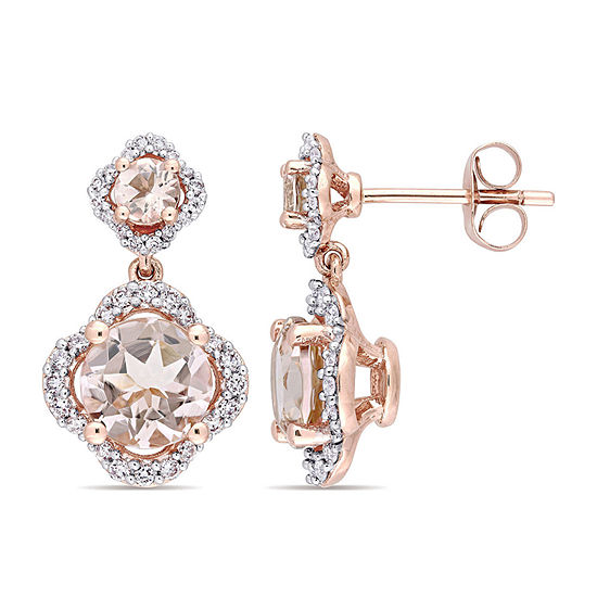 3/8 CT. T.W. Pink Morganite 14K Rose Gold Ear Pins