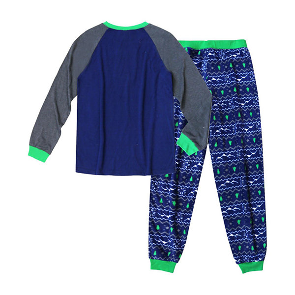 Holiday #FAMJAMS Green and Navy Explore Family 2 Piece Pajama Set -Men's