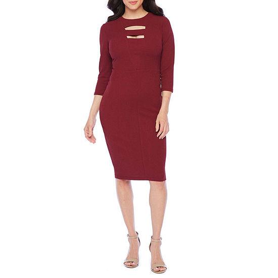 Premier Amour 3/4 Sleeve Sheath Dress
