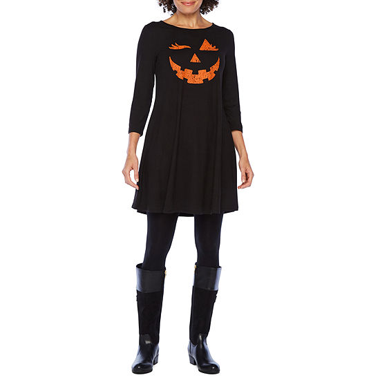 City Streets 3/4 Sleeve Halloween Themed Swing Dresses