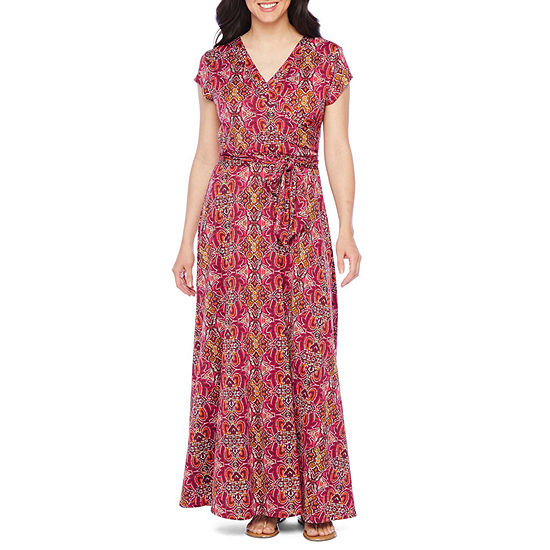 Be by Chetta B Short Sleeve Medallion Maxi Dress