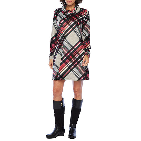 R & K Originals Long Sleeve Plaid A-Line Dress with Removable Scarf