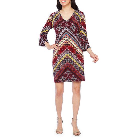 Be by Chetta B 3/4 Sleeve Geometric Shift Dress