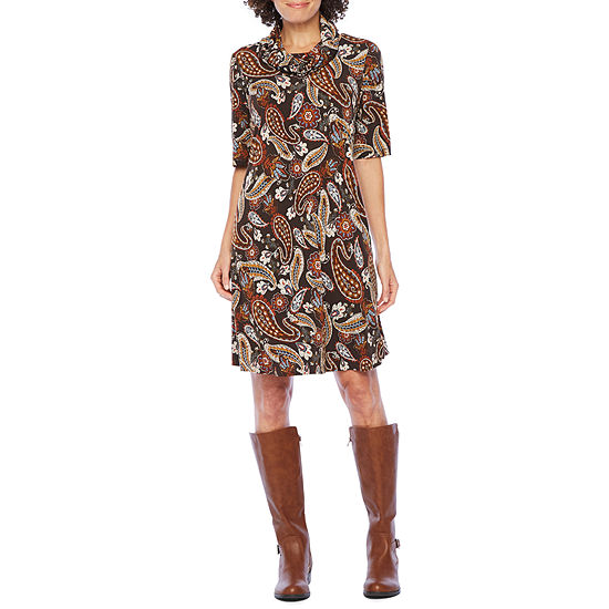 Be by Chetta B 3/4 Sleeve Paisley Puff Print Shift Dress with Removable Scarf