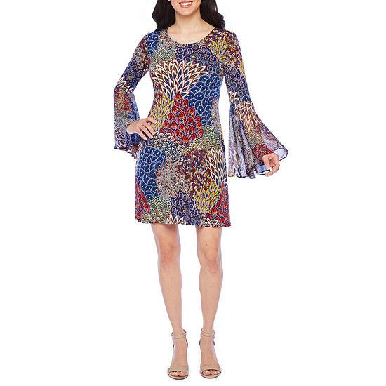 MSK 3/4 Sheer Bell Sleeve Animal Shift Dress