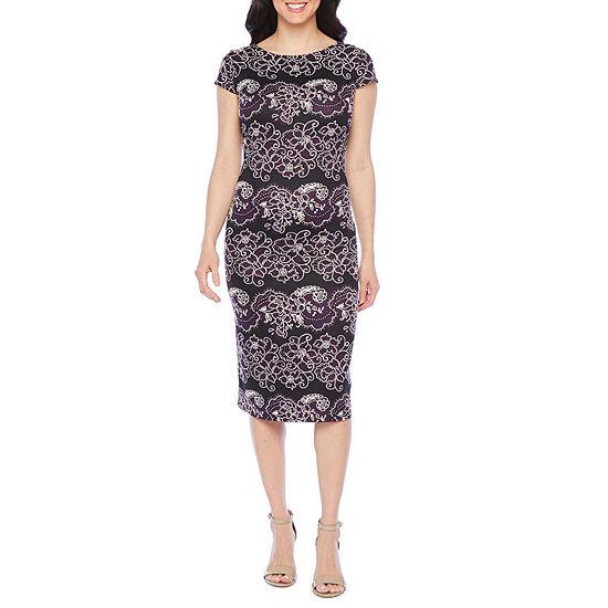 Ronni Nicole Short Sleeve Floral Puff Print Sheath Dress