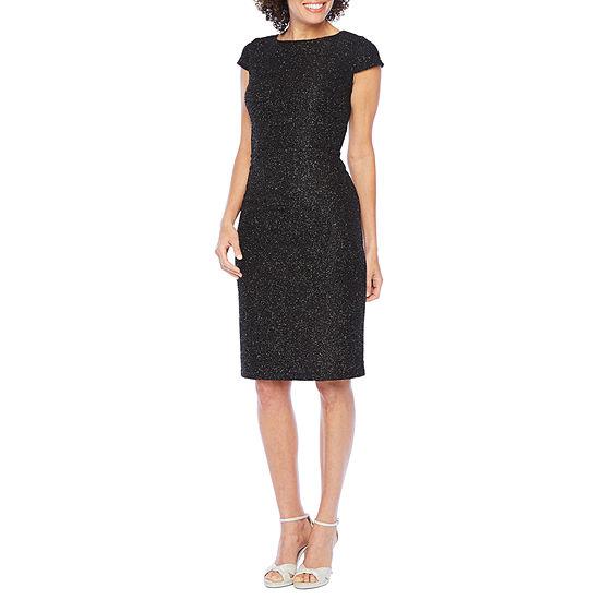 Alyx Short Sleeve Glitter Sheath Dress