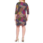 MSK 3/4 Sleeve Feather Print Shift Dress-Plus