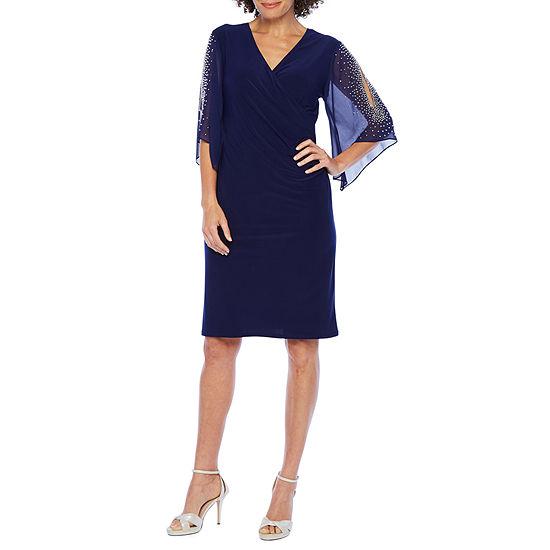 MSK 3/4 Flutter Sleeve Beaded Sheath Dress