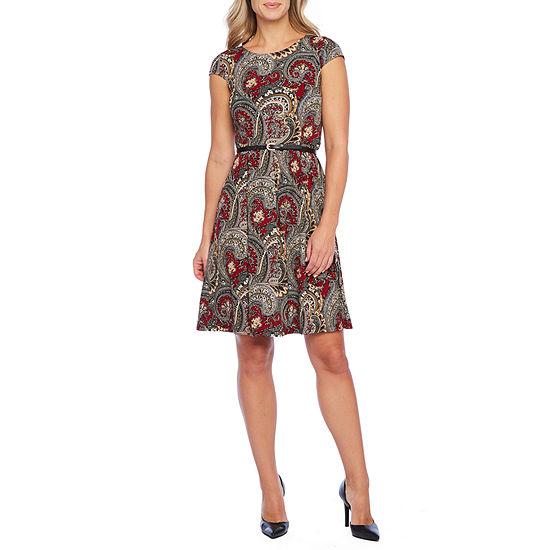 Liz Claiborne Short Sleeve Paisley Fit & Flare Dress
