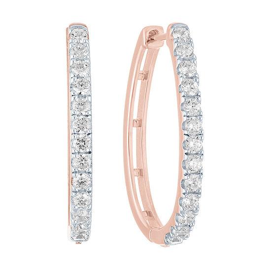 1 CT. T.W. Genuine Diamond 14K Rose Gold Over Silver 25.7mm Hoop Earrings