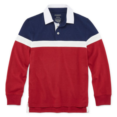 Arizona Boys Point Collar Long Sleeve Polo Shirt Preschool / Big Kid