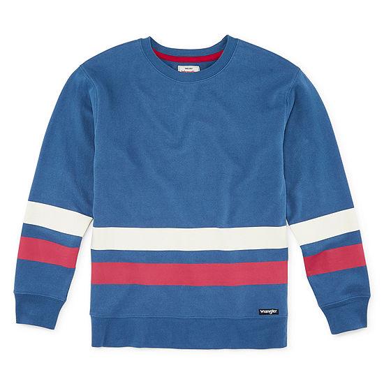 Wrangler Boys Crew Neck Long Sleeve Embellished T-Shirt-Big Kid