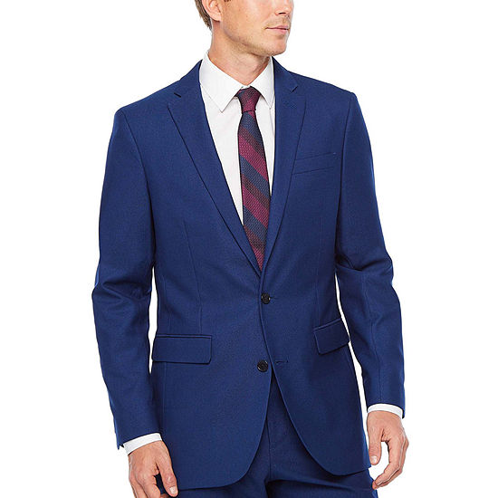JF J.Ferrar Mens Striped Stretch Slim Fit Suit Jacket