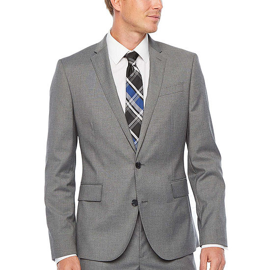 JF J.Ferrar Ultra Comfort Medium Gray Super Slim Fit Suit Jacket
