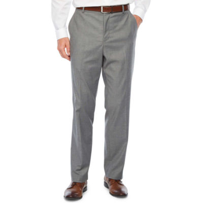 JF J.Ferrar Ultra Comfort Gray Slim Fit Flat Front Suit Pants
