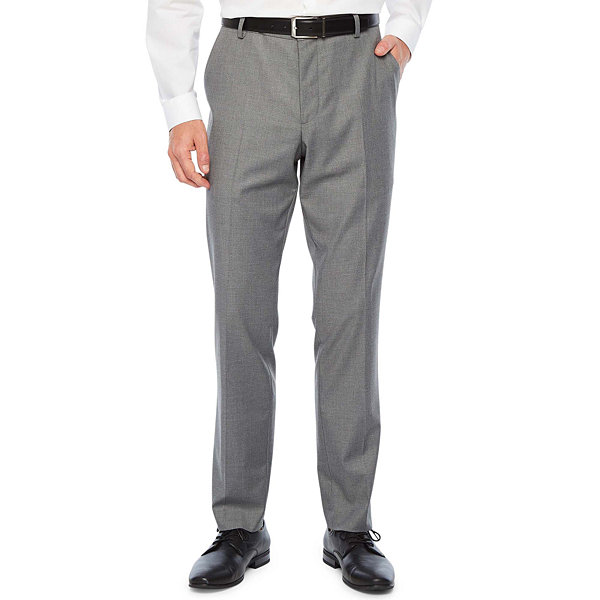 JF J.Ferrar Ultra Comfort Medium Gray Super Slim Fit Stretch Suit Pants