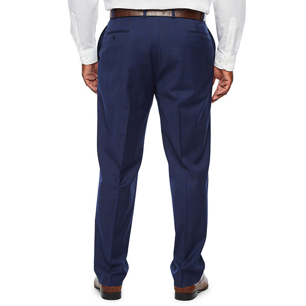 Collection by Michael Strahan  - Big and Tall Plaid Classic Fit Stretch Suit Pants
