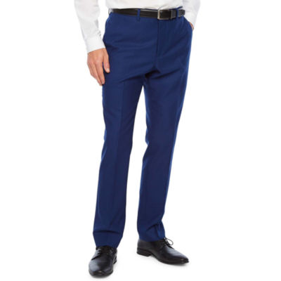 JF J.Ferrar Bright Blue Luster Striped Super Slim Fit Stretch Suit Pants