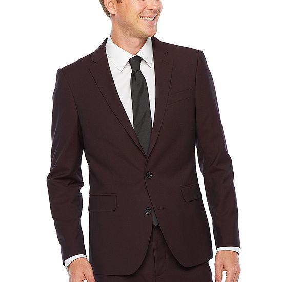 JF J.Ferrar-Slim 360 Stretch Burgundy Pulse Super Slim Fit Stretch Suit Jacket