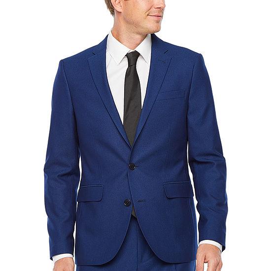 JF J.Ferrar Bright Blue Luster Striped Super Slim Fit Stretch Suit Jacket