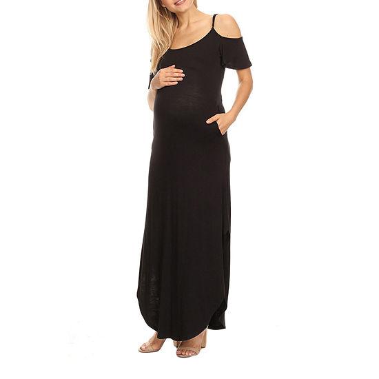 White Mark-Plus Maternity Short Sleeve Maxi Dress