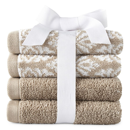 JCPenney Home Kyoto 4-pc. Washcloth, One Size , Beige